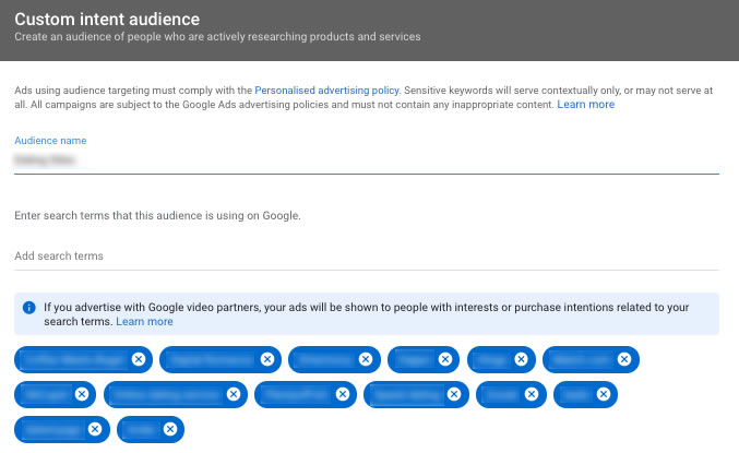 youtube ad custom intent audience vidtao